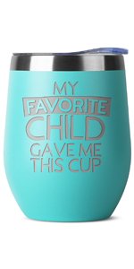 favorite child Birthday Gifts for Women Men - 12 oz White Insulated Stainless Steel Tumbler w/Lid