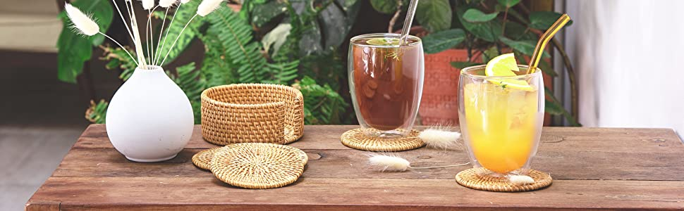 Natural Wicker Coasters