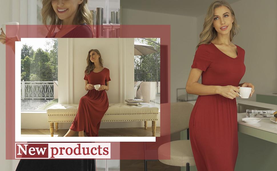Women's Bamboo Sleepwear Slim Sleepwear Warm Maternity Maxi Dress  Nursing Long Sleep Dresses