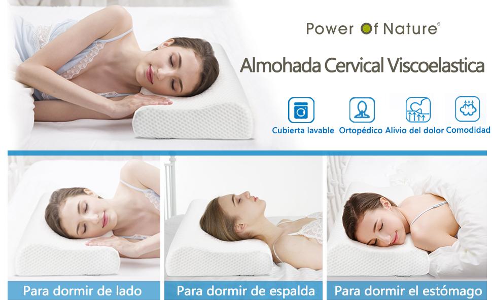 Power Of Nature Almohada Viscoelastica, Almohada Cervical con Altura Ajustable, Reduce Dolores Cervicales,Forma Ergonómica Adecuada para Todos los ...