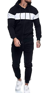Men's Casual Striped Patchwork Two Pieces Tracksuits