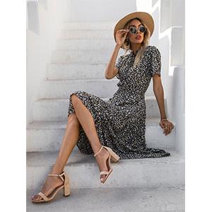 floral print midi dress wrap midi dress black floral midi dress for women summer dresses for women
