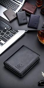 BULLCAPTAIN RFID Blocking Bifold Wallet