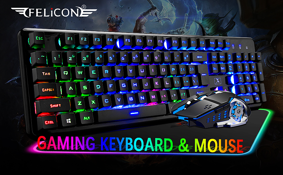 gaming keyboard and mouse set  Wired Keyboard and Mouse Mousepad Combo,Mechanical Feel Rainbow Backlit Gaming Keyboard Mouse,10 Color RGB Gaming Mice Pad 7 Color Mute Gaming La Souris for PC Laptop Mac 8270e795 3657 4115 a265 a16aca2f838a