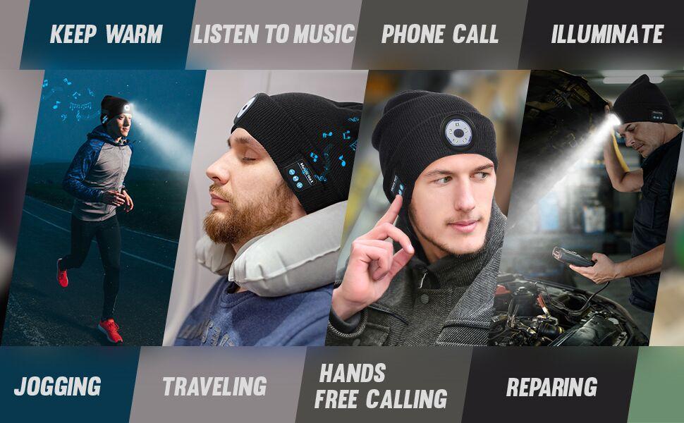 Winter Beanie Hut Wireless Bluetooth V5.0 Smart Cap Headset LED-Licht Kopfh V4I7
