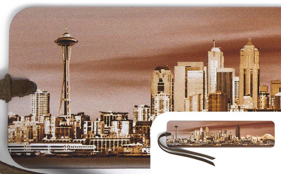 Seattle Skyline on Handmade Wood Bookmark