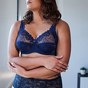 Minimizer Sheer Lace Unlined Plus Size Comfort Full Coverage Sleep Figure Bra