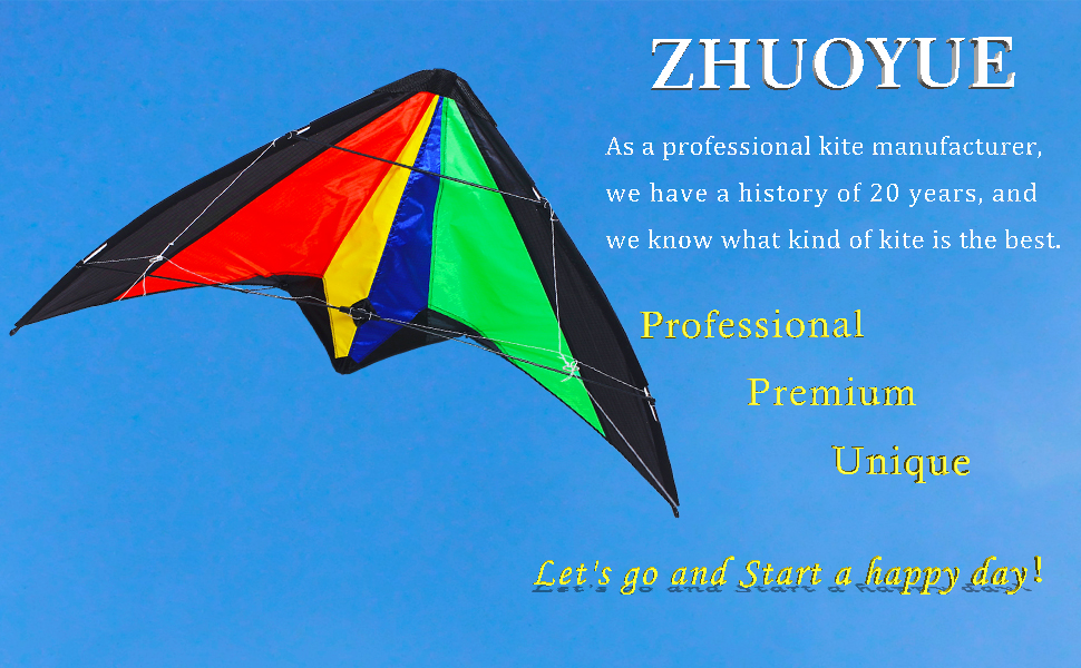 ZHUOYUE Dual Line Stunt Kite 51 inch Wide,Professional Sport Kites Entry-Level Includes Flying Line,Handles and Storage Bag