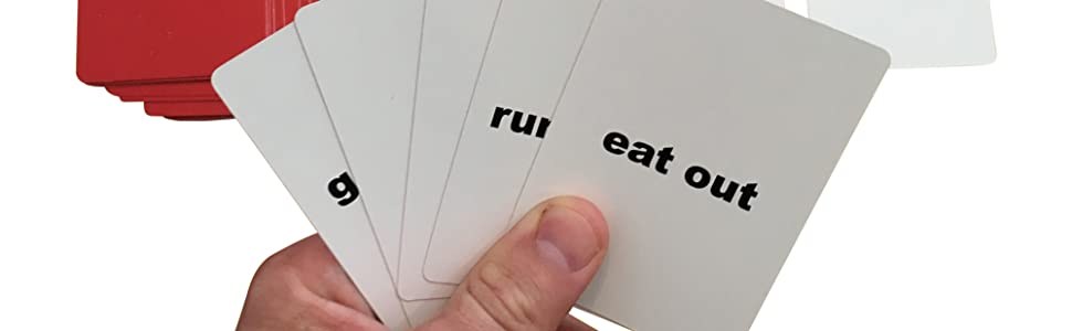 Phrasal verbs English flashcards game player holding 5 cards in hand.
