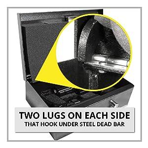 Stealth Portable Handgun Safe Steel Lugs Hooks Under Dead Bar