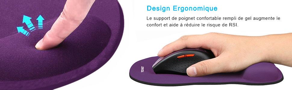 2 St/ück Tapis de Souris avec Repose Poignet en Gel Mouse Pad Ergonomique en Mousse /à M/émoire de Forme pour PC Ordinateur Ergonomique Noir Bleu