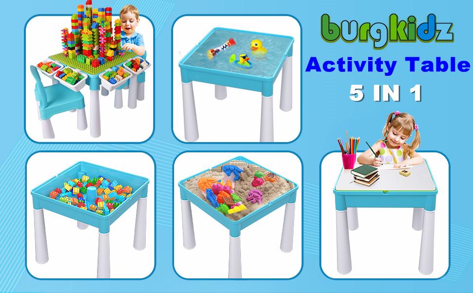 Juego de mesa de actividades múltiples 5 en 1 para niños, 128 piezas de bloques de construcción grandes Compatible con ladrillos de juguete, Incluye 1 silla y mesa de bloques de con