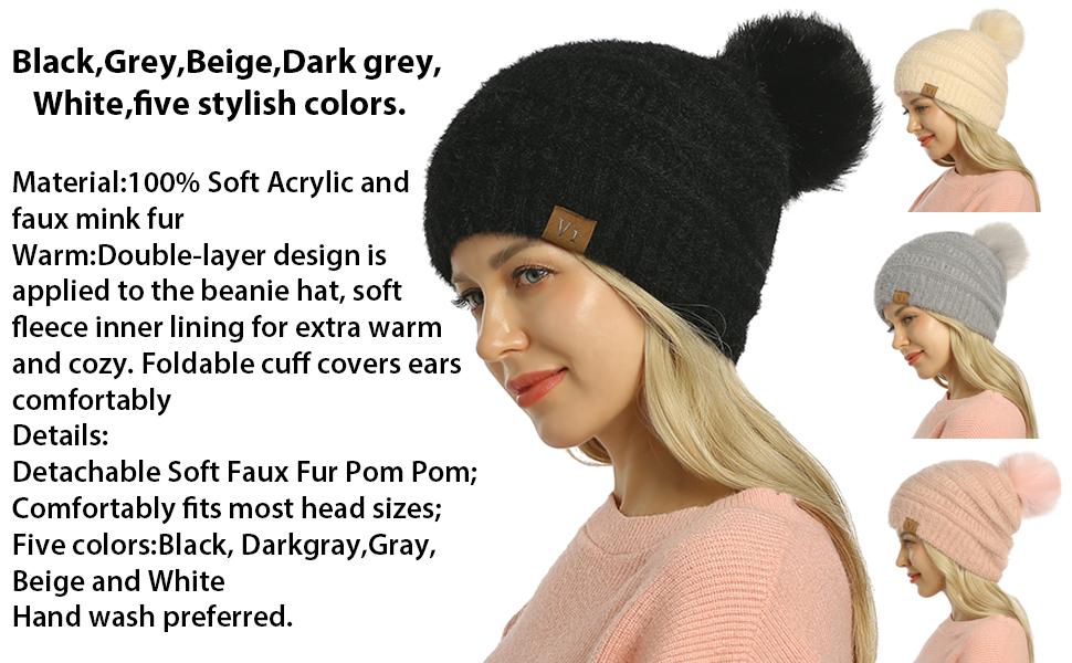 BRAND NEW  DUCK /& COVER Fleece Lined Bobble Beanie Hat Black