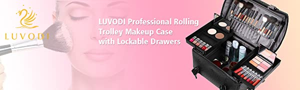 LUVODI makeup case trolley  leather with wheels