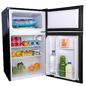 50cm 500mm fridge freezer metal backed 89L black ice cube tray salad crisper reversible door