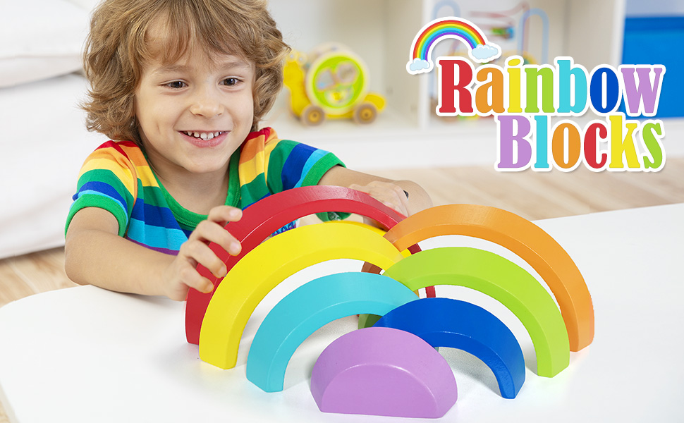 Amazon.com: Lewo Wooden Rainbow Stacking Game Learning Toy ...