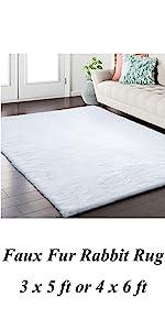 Faux fur rabbit area rug 3x5ft