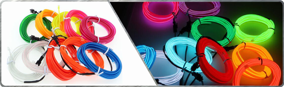 HomDSim 118inch 300cm Auto Car Interior Decor LED Neon Light Lamp Glow EL Wire String Strip 12V 394inch//1000cm, red