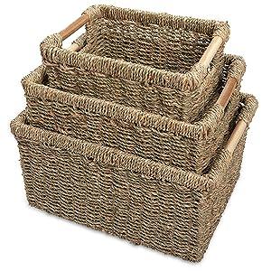 Set of seagrass wicker baskets