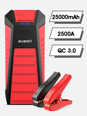 SUAOKI 2500A Peak Car Jump Starter Pack, 12V Auto Battery Booster (for ALL Gas or 8.5L Diesel Engines), 25000mAH Power Bank with Type-C USB, QC 3.0, ...