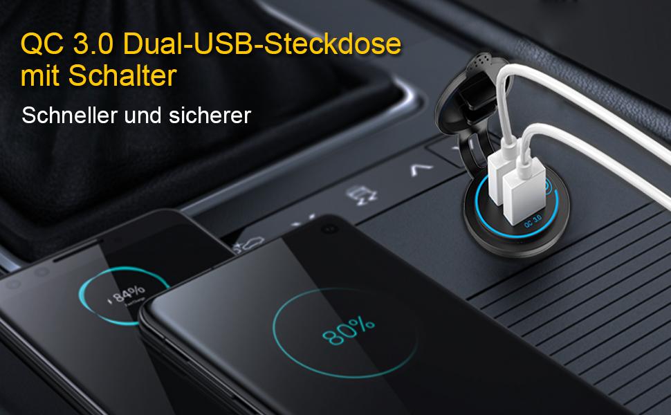 Qc 3 0 Usb Steckdose 12v 24v Auto Mit Schalter Quick Elektronik