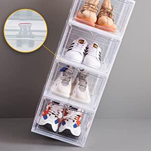 Dorp front shoe box,stackable Plastic Shoe box,Clear shoe box,sneaker storage,shoe box organizer