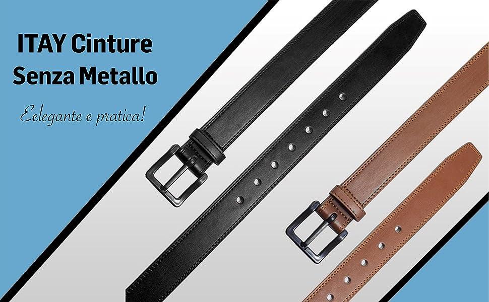 ITAY Cintura Pelle Senza Metallo Fibbia Prive di Nichel Ipoallergenica e Non Rilevabile Attraverso i Metal Detector 34 mm