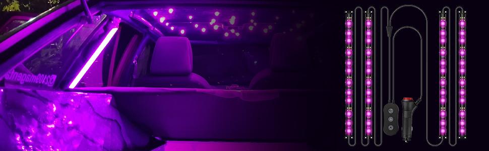 Freesoo Auto Led Innenbeleuchtung 4pcs Auto Led Strip Upgrade Zwei Linien Design Led Atmosphäre Licht Wasserdicht Beleuchtung Steuerbare Mehrfarbig Musik Innenbeleuchtung Mit Zigarettenanzünder 12v Auto