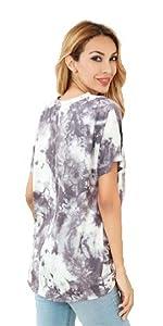 es-uk - Camiseta informal desteñida de manga corta con cuello redondo y parte frontal cruzada para mujer