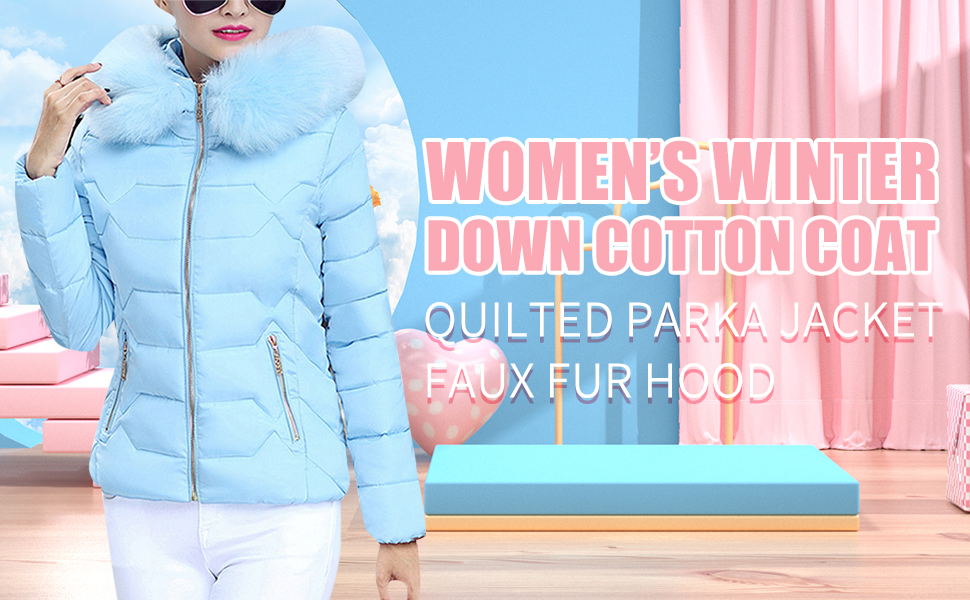 YMING Women's Winter Down Coat Warm Thickened Quilted Parka Jacket with Hood