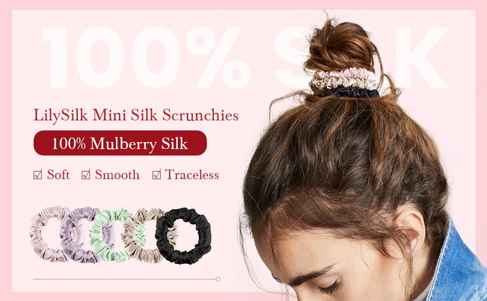 LilySilk 100% Pure Silk Scrunchy -Regular Scrunchies Hair Silk Scrunchies For Women Soft Hair Care