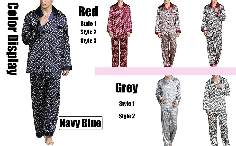 Men's Summer Luxurious Kimono Soft Satin Robe with Shorts Nightgown Long-Sleeve Pajamas