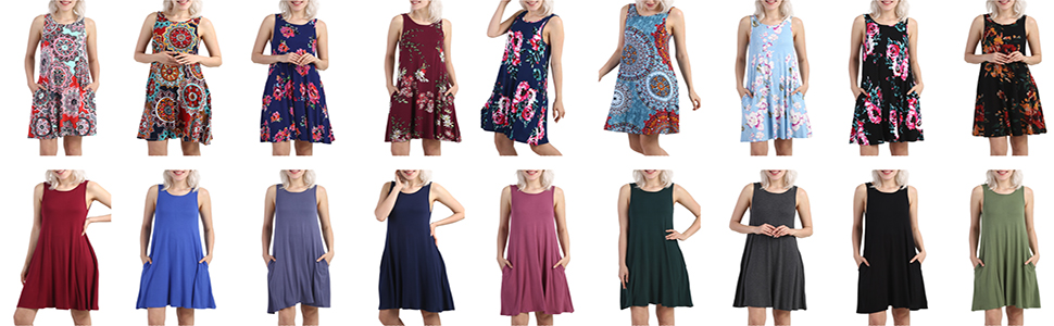 KORSIS Women's Summer Sleeveless Casual Loose Swing T Shirt Dress With Pocket