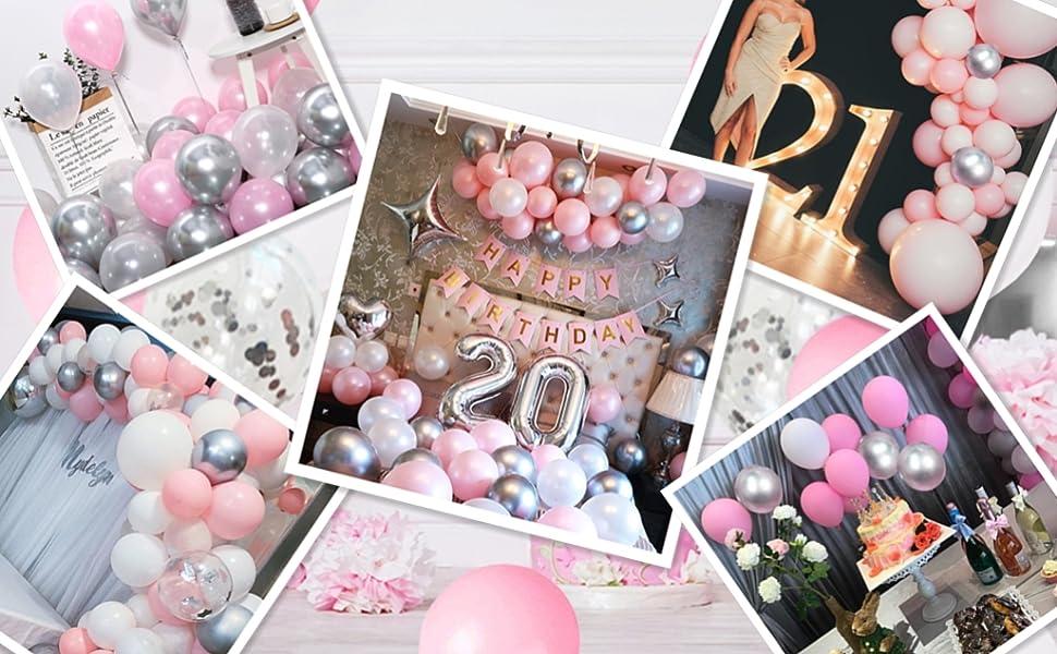 Beautiful pink silver balloons photos