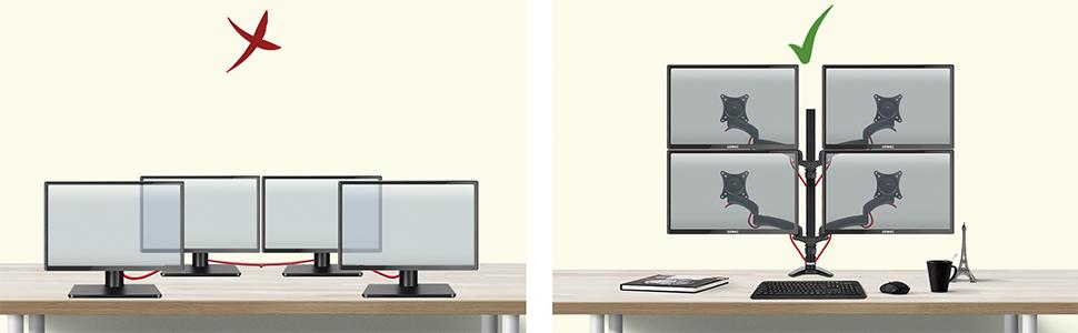 Duronic DM454 Soporte para 4 Monitores PC con Brazo de Escritorio Ajustable y Articulado para Pantallas 15