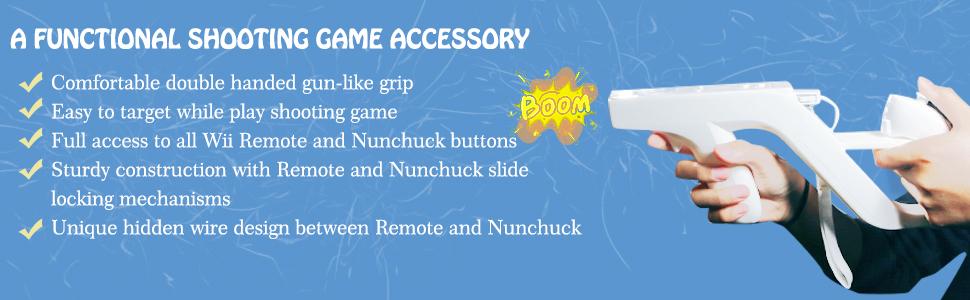 Shooting Game Wii u Zapper Gun Grip-suitable for Nintendo Wii Nunchuk /Wii Accessory