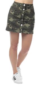 camouflage denim skirt, button down denim skirt, denim mini skirt, jean skirt