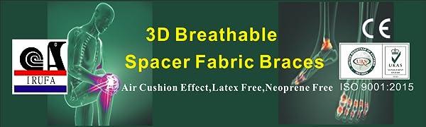 Irufa, spacer fabrics,support,brace, wrap,sleeve,Stabilizer, Splint , 3 D,breathable,air cushion