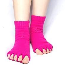 SUPVOX Half 5 Finger Socks Heelless Boat Socks Toe Straightener Stretcher Separators 2 Pairs