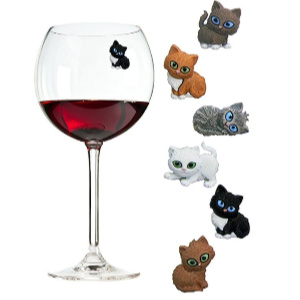 cat wine glass charms magnetic