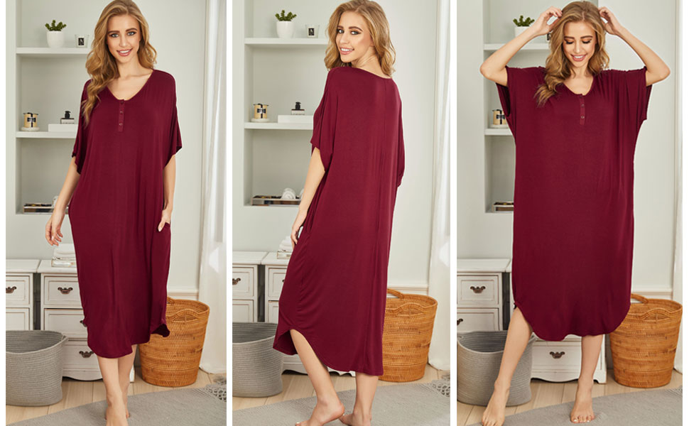 women sleepshirt sleepwear nightgown nightshirt loungewear casual sleeping dress