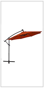 offset umbrella with light