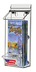 """Marketing Holders 4"""" x 9"""" Magnetic Outdoor Catalog Brochure Holder with attached Business Card Holde"""