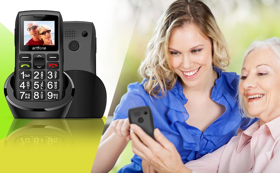 artfone Teléfono Movil para Personas Mayores con Teclas Grandes, Móviles para Ancianos con Doble SIM y SOS Botón, Batería de 1400 mAh, Base de Carga, 2G: Amazon.es: Electrónica