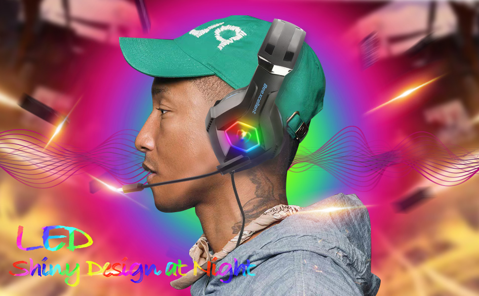 Gaming Headset for PS4 PC  Headphone with Stereo Bass Surround Sound LED Light  Noise-Isolation Mic