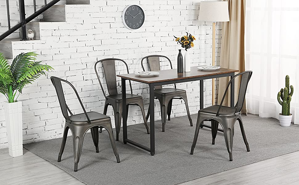 Yaheetech Metal Dining Chairs Set of 4 Stackable Dining Room Chairs Side Chairs with Back 340 lbs,Gun Metal Each Chair Load Capacity
