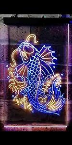 ADVPRO Koi Fish Display Dual Color LED Neon Sign Line Art Fish Japanese Restaurant Home decoration