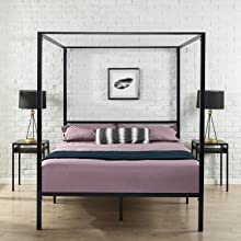 Zinus Patricia Black Metal Four Poster Canopy Modern Contemporary Bed Frame