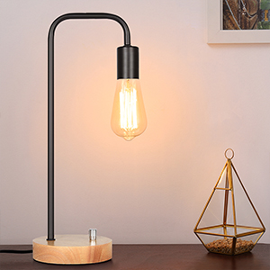 Wood Edison desk lamp