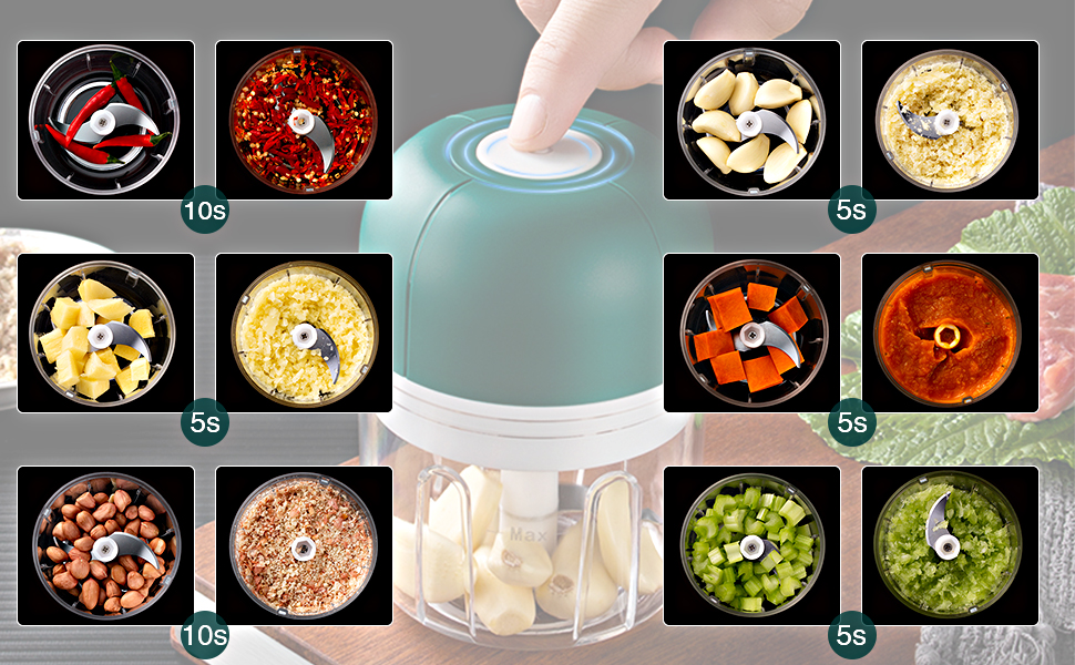 Wireless garlic chopper that can be used anywhere. Easy to carry in any backpack.
